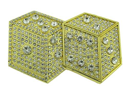 Las Vegas US Belt Buckle Gambling Casino Pokers Game Slot Machine Metal Dices (Gold) (Dice Belt Buckle)