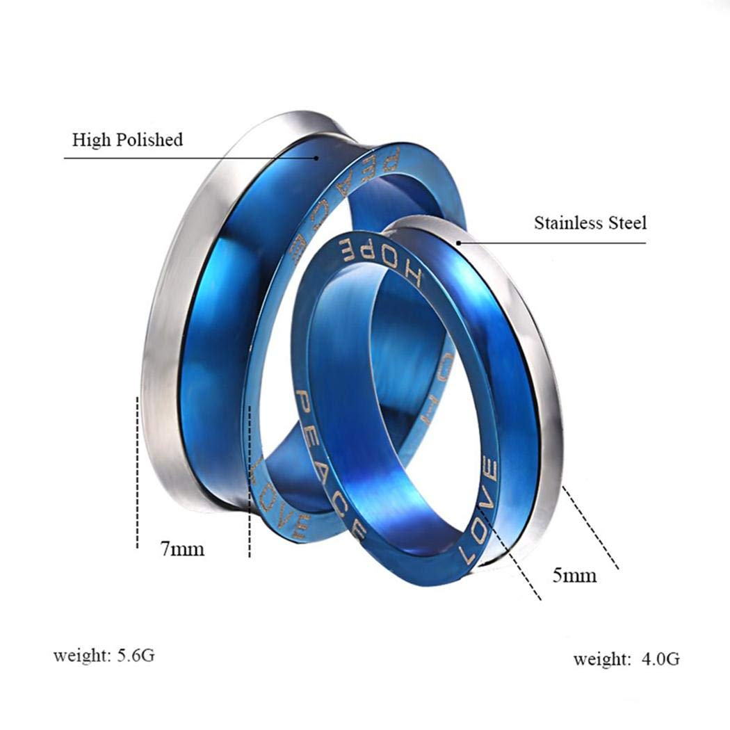 JEWURA Hope Peace Love Ring for Lovers Fashion Stainless Steel Jewelry