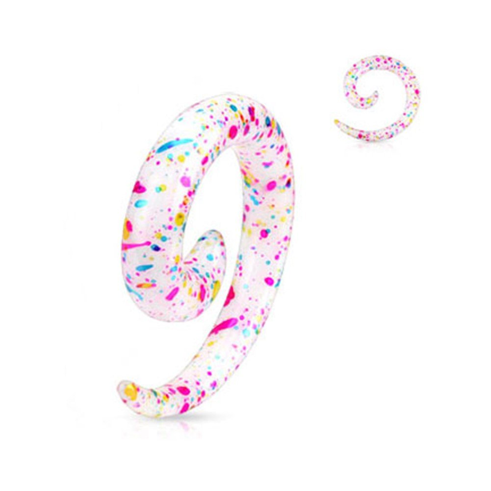 White Multi Color Splat Spiral Taper Gauge: 0 (8.0Mm) MsPiercing Tapers pr_sku_196308