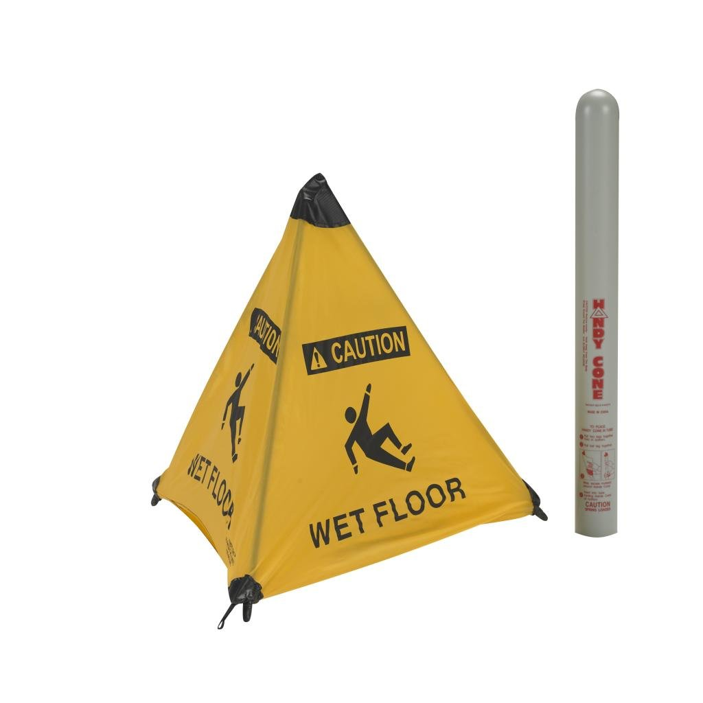 Handy Cone 17176I Wet Floor English 18'' Yellow Cone w/Grey Storage Tube