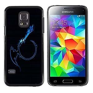PC/Aluminum Funda Carcasa protectora para Samsung Galaxy S5 Mini, SM-G800, NOT S5 REGULAR! Blue Tribal Dragon Flame / JUSTGO PHONE PROTECTOR