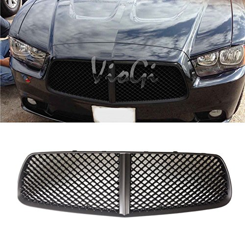 Viogi 1Pc Matte Black Strong Abs Plastic Mesh Style Front Main Upper Grille Fit 11 14 Dodge Charger  Except Srt
