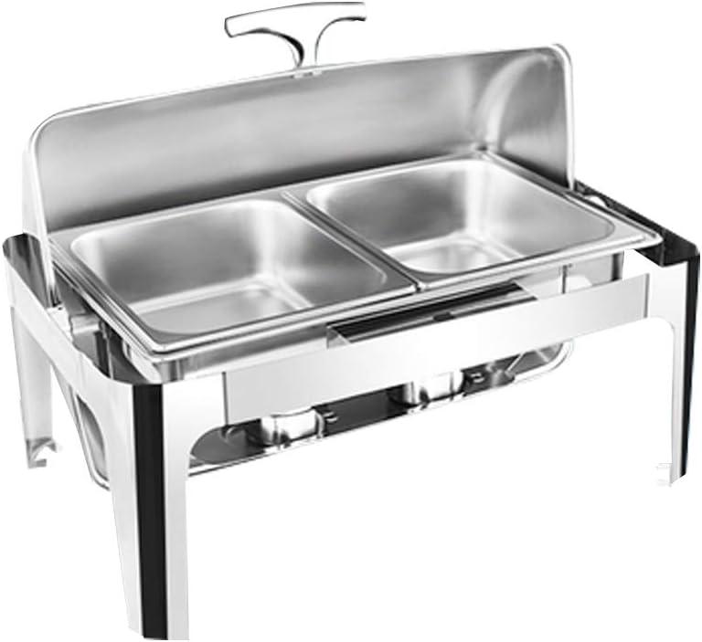 YJINGRUIビュッフェサーバー 13.5L 保温ストーブ フードウォーマー アルコール加熱 Square thickened buffet stove 持ち運べるビュッフェストーブ フリップカバー付き (ダブルグリッド)