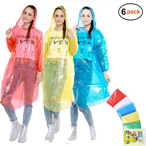 Rain Poncho for Men Women, (6 Pack) Emergency Disposable Rain Coat in Bulk with Drawstring Hood- Super Lightweight Rain Gear for Adults & Kids Family Pack Outdoor Activities, No Chemical Smell (C-1)