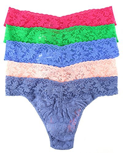 Hanky Panky Women's Signature Lace Original Rise Thongs 5 Pack, Outerbanks, One (Hanky Panky Original Lace Thong)
