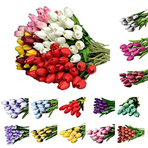 Artificial Tulip Fake Flowers ,Cywulin 10 Pcs Latex Real Touch Bridal Wedding Bouquet Decor for Wedding Bouquet House Office Garden Inddor Outdoor 1