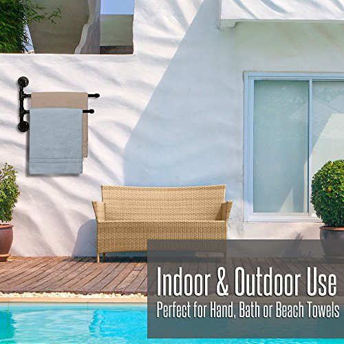 Outdoor Towel Rack For Pool or Bathroom Use - 2 Arm Swivel T