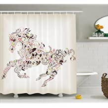 Ambesonne Horse Shower Curtain Abstract Home Decor, Abstract Floral Horse Flower Leaf Ornamental Paisley Pattern Swirl Artwork, Bathroom Accessories, 69W X 70L Inches