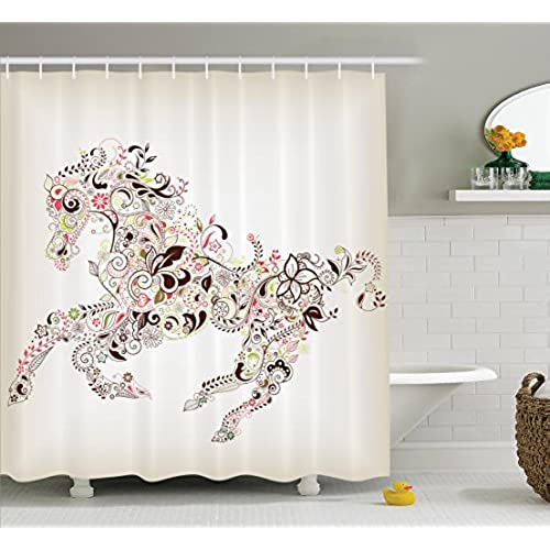 Superieur Ambesonne Abstract Home Decor Shower Curtain Set, Abstract Floral Horse  Flower Leaf Ornamental Paisley Pattern Swirl Artwork, Bathroom Accessories,  ...