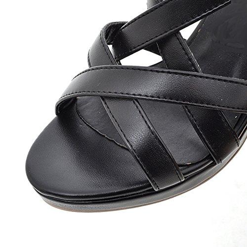 De Peep Sandalias Toe Mujer Strappy Negro Gladiator Coolcept Tacon Aguja Strappy Moda Bootie 8qUvHn