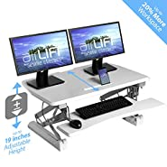 "Seville Classics OFF65808 Airlift 36"" Gas-Spring Height Adjustable Standing Desk Converter Workstation Ergonomic Dual Monitor Riser with Keyboard Tray and Phone/Tablet Holder, Full, White"