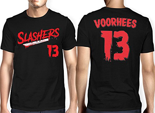 HAASE UNLIMITED Men's Slashers Voorhees 13 Jersey T-Shirt (Black, X-Large)]()