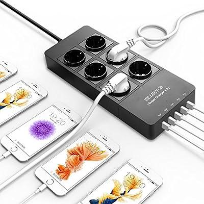 ISELECTOR - DEB4023014- Regleta de 2 Enchufes con 5 Puertos USB de ...