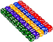 JustMikeO Set of 50 Six Sided D6 16Mm Standard Rounded Translucent Dice Die - Multicolor