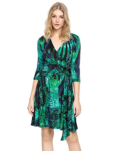 Grapent Women's Casual Pretty Stylish A Line V Neck 3/4 Sleeve Fit and Flare Tropical Print Patterned Skater Cocktail Faux Wrap Dress Green Dresses with Sleeves US 10