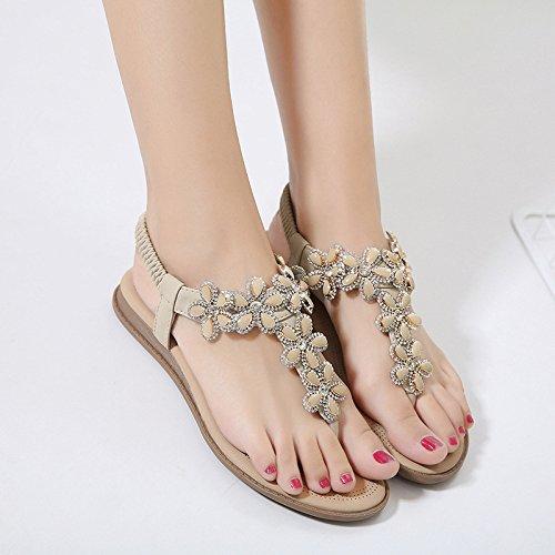 Chaussures Boho Beige Clip Tongs Fleur Sandales Sandales Plat Elastique Plage Thong Strap Toe Hope Strass Bohême Post Femmes T 0pnSqT