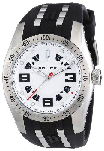 Police Men's PL-12892JS/04 Topgear X Silver Dial Rubber Date Watch