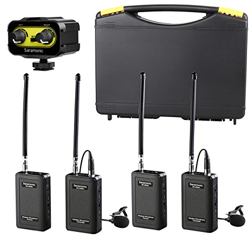 Lavalier Bodypack Transmitter (Saramonic Wireless VHF Lavalier Microphone Bundle with 2 Bodypack Transmitters, 2 Receivers, and 2-Ch Mixer for DSLR Cameras, Camcorders + More - 200' Wireless Transmission Range (Black/Yellow))