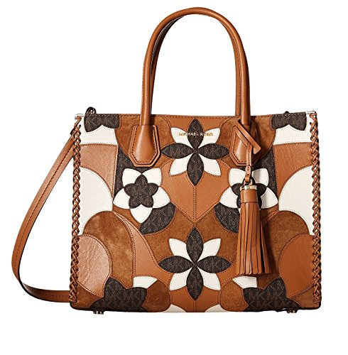 MICHAEL Michael Kors Mercer Large Floral Patchwork Convertible Leather Tote (Acorn) by Michael Kors