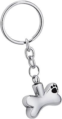 Amazon.com: Hueso mascota pies urna llavero acero inoxidable ...