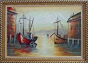 Barcos de pesca Parks puerto de Village grande de pintura al óleo, con exquisito oro marco de madera 30x 42cm