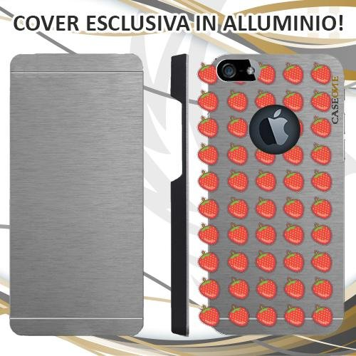 CUSTODIA COVER CASE FRAGOLE PATTERN PER IPHONE 5 ALLUMINIO TRASPARENTE