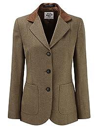 Womens Tweed Blazer With Contrast Collar Tan