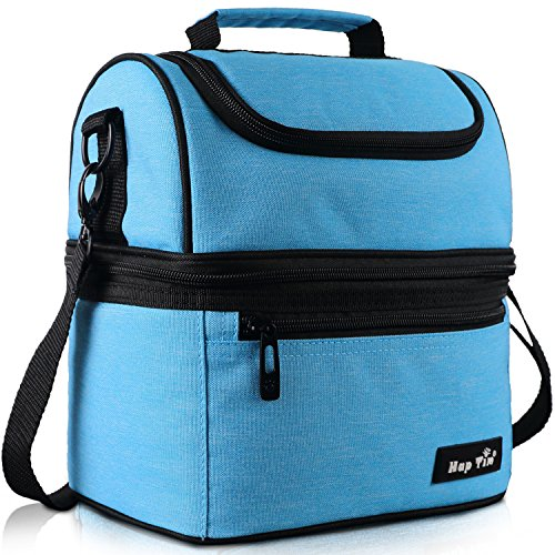 Hap Tim Lunch Box Insulated Lunch Bag Large Cooler Tote Bag for Adult,Men,Women,Kids, Double Deck Cooler for Office/School/Picnic/Travel/Camping(16040-BL) by Hap Tim