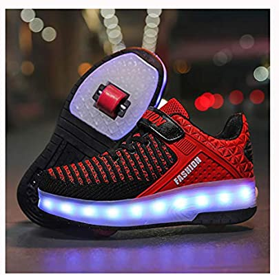 Kids Led Roller Shoes Retractable Skateboarding Rollerblades Unisex Kids Roller Skate Shoes Push Button Roller Skate Shoes Double Wheel Roller Skate Shoes Usb Charge Led Shoes Red 37 Buy Online At Best