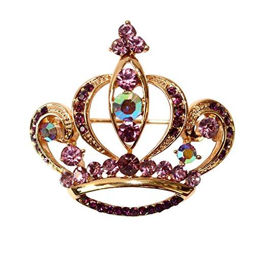 Navachi 18k Gold Plated Purple Crystal Royal Crown Az7157b Brooch Pin