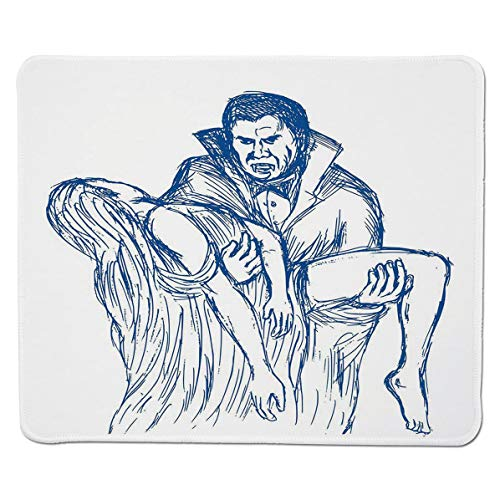 SCOCICI Gaming Mouse Pad with Stitched Edges,Count Dracula in Cape Carrying His Prey Victim Woman Sketchy Halloween Artwork,Non-Slip Rubber Base Mousepad for Laptop,Computer & PC 11.8x9.8 inch