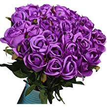 Artificial Flowers Silk Roses Real Touch Bridal Wedding Bouquet for Home Garden Party Floral Decor 10 Pcs (Purple straight stem)
