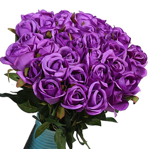 Veryhome Artificial Flowers Silk Roses Fake Bridal Wedding Bouquet for Home Garden Party Floral Decor 10 Pcs (Purple straight stem)