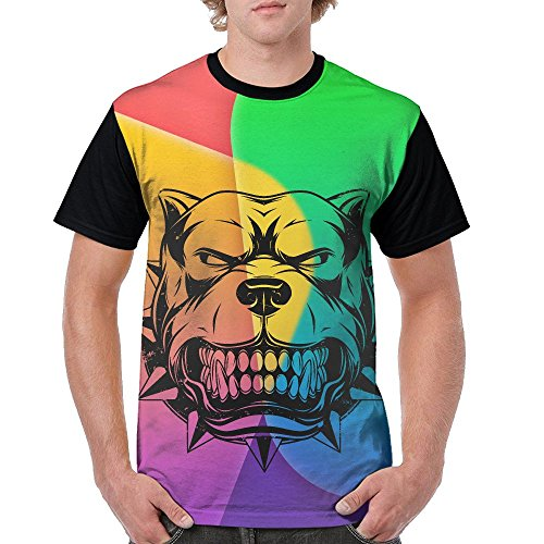 QQWDBB Mens Circular Collar T-Shirt Angry Bulldog Fashion Youth & Adult T-Shirt