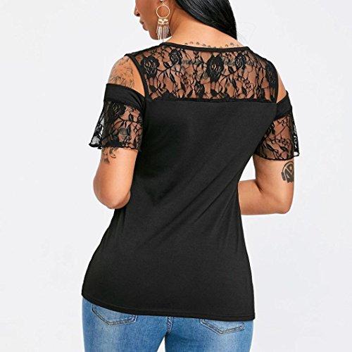 Shirt T Corta Donna Nero Shirt Estiva Ragazza Particolari Corte T Donna Manica Homebaby® Maglietta Pizzo Tumblr Donna Magliette Donna Vintage Maglietta Tumblr Elegante RH8B5nw1