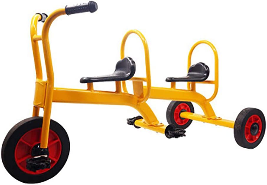 SHARESUN Tandem Trike- Triciclo para niños- Diseño Retro- Triciclo con Ruedas de Goma- Cubierta de Guardabarros Delantera cromada- Paso atrás para niños Mayores de 3 años
