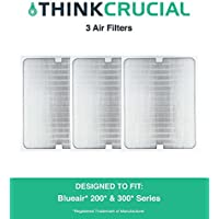 3 Air Purifier Filters fit ALL Blueair 200 & 300 Series Models 201, 210B, 203, 250E,200PF, 201PF, Designed & Engineered by Crucial Air
