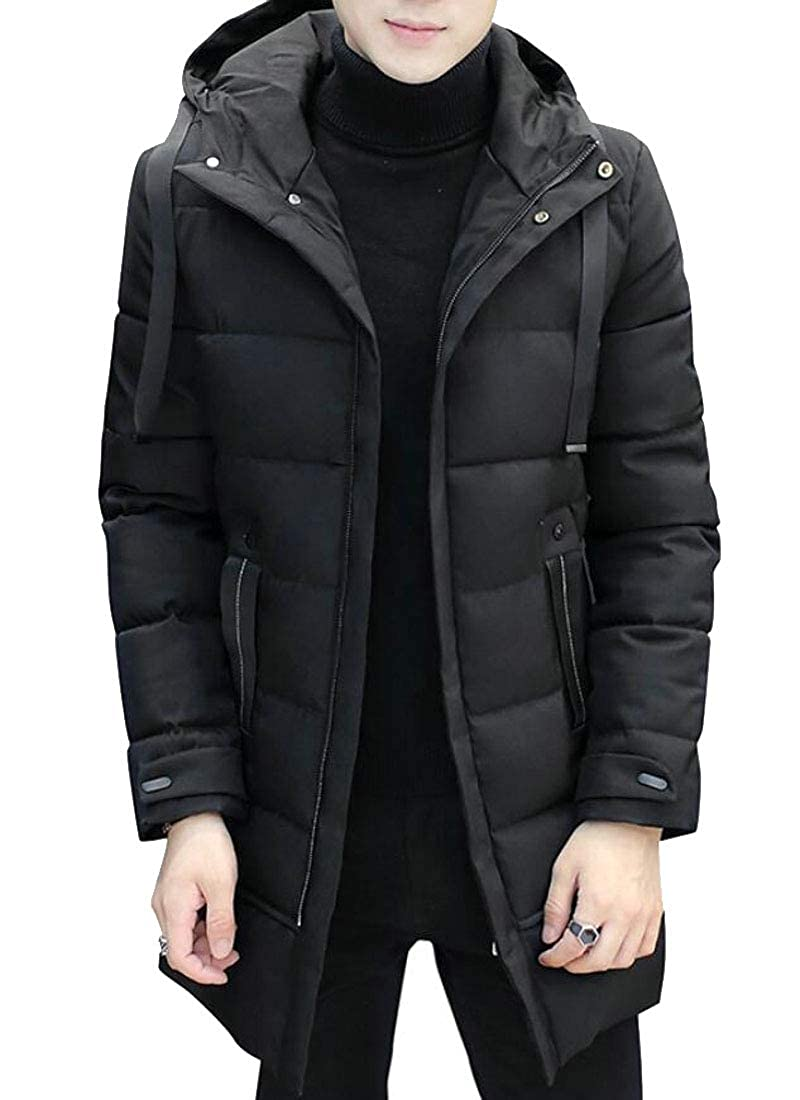 X-Future Men Warm Hooded Quilted Outdwear Zipper Windproof Long Down Jacket