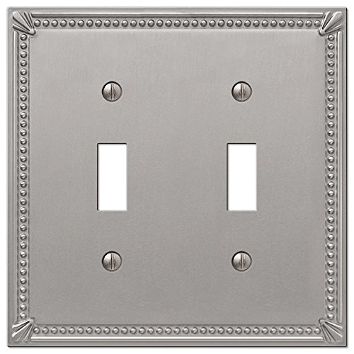 Imperial Bead Double Toggle Switch Plate in Brushed Nickel