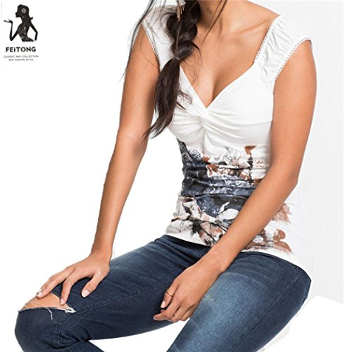 Axchongery Women Tank Tops, Sexy Floral Print Blouse Summer Cami Top Pleat Shirt Vest (Gray, L)