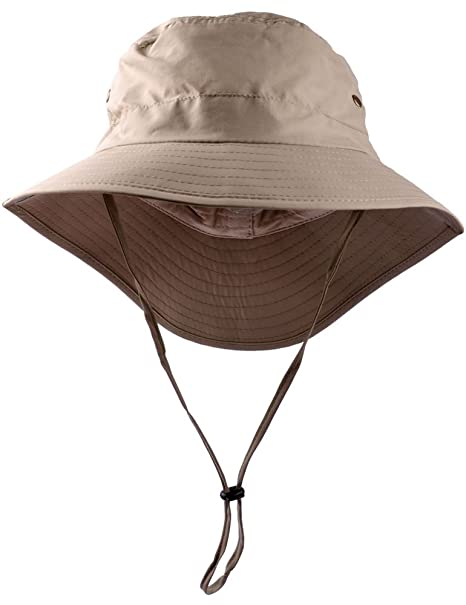 Bucket Hat Womens Summer Sun Hats Foldable Wide Brim UV Protection Safari Fisherman Caps with Boonie Windproof Adjustable Chin Strap