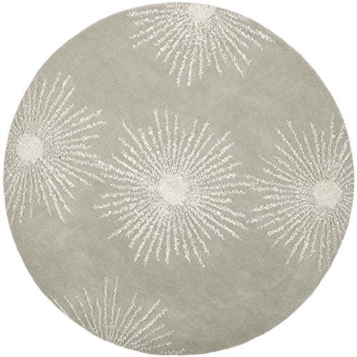 Safavieh Soho Collection SOH712K Handmade Fireworks Grey and Ivory Premium Wool Round Area Rug (6' Diameter) - Round Tufted Cotton Rug