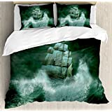 Ambesonne Pirate Ship Duvet Cover Set King Size, Old Ship in Thunderstorm Digital Artwork Fantasy Adventure, Decorative 3 Piece Bedding Set with 2 Pillow Shams, Jade Green Dark Green White