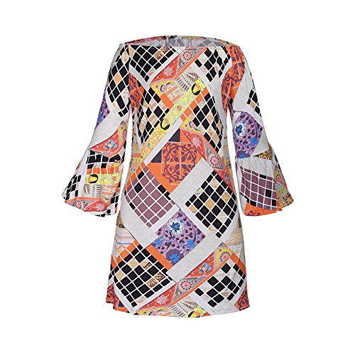 bubblekiss-off-shoulder-bell-sleeve-split-neck-geometric-shift-printed-loose-summer-causual-dress-m-