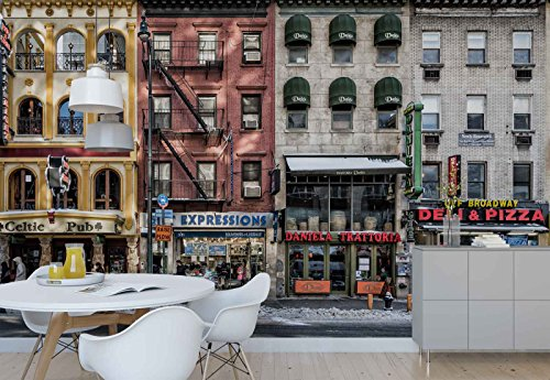Photo wallpaper wall mural - Street Walk Way Building Facades - Theme Travel & Maps - XL - 12ft x 8ft 4in (WxH) - 4 Pieces - Printed on 130gsm Non-Woven Paper - 1X-1189981V8 by Fotowalls Photo Wallpaper Murals
