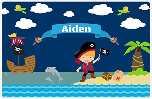 Just So Posh Personalized Pirate Placemat - Boy Pirate with Flag I - Blond Boy