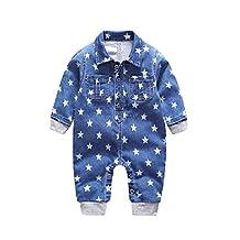 Sheng Xi Infant Toddler Baby Boy Girl Denim Buttoned Romper Harem Pants