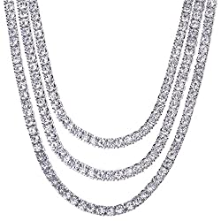 Triple Set Men's CZ Silver Plated Chain