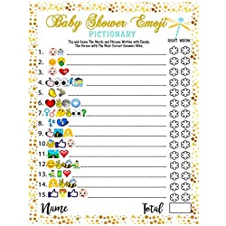 Baby Shower Games - Emoji Pictionary Cards, Fun Guessing Game for Girls Boys Babies Gender Neutral Ideas Shower Party, Prizes for Game Winners, Favorite Adults Games for Baby Shower Favors Activities