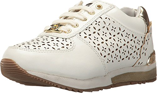Michael Kors Girl's Allie Laser Fashion Shoe White/Gold Size - Kids Michael Kors